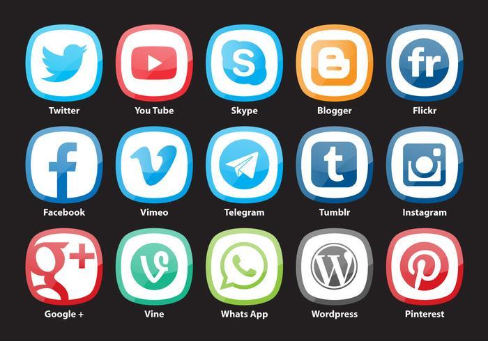 Vecteurs de médias sociaux urbains arrondis vecteur