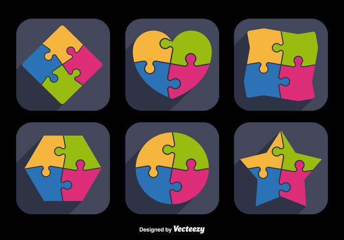 Formes d'icônes de puzzle vecteur