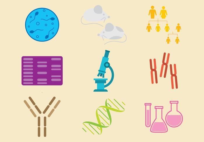 Vecteurs d'icônes de biologie moléculaire vecteur