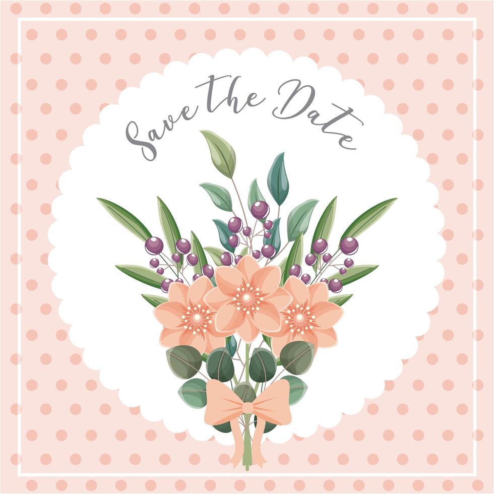 bouquet de fleurs enregistrer la carte de date vecteur