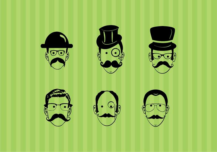 Les visages des hommes créatifs vecteur