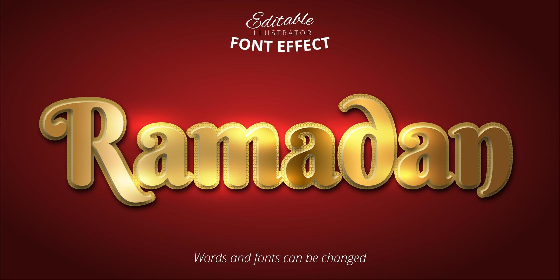 effet de texte ramadan doré vecteur