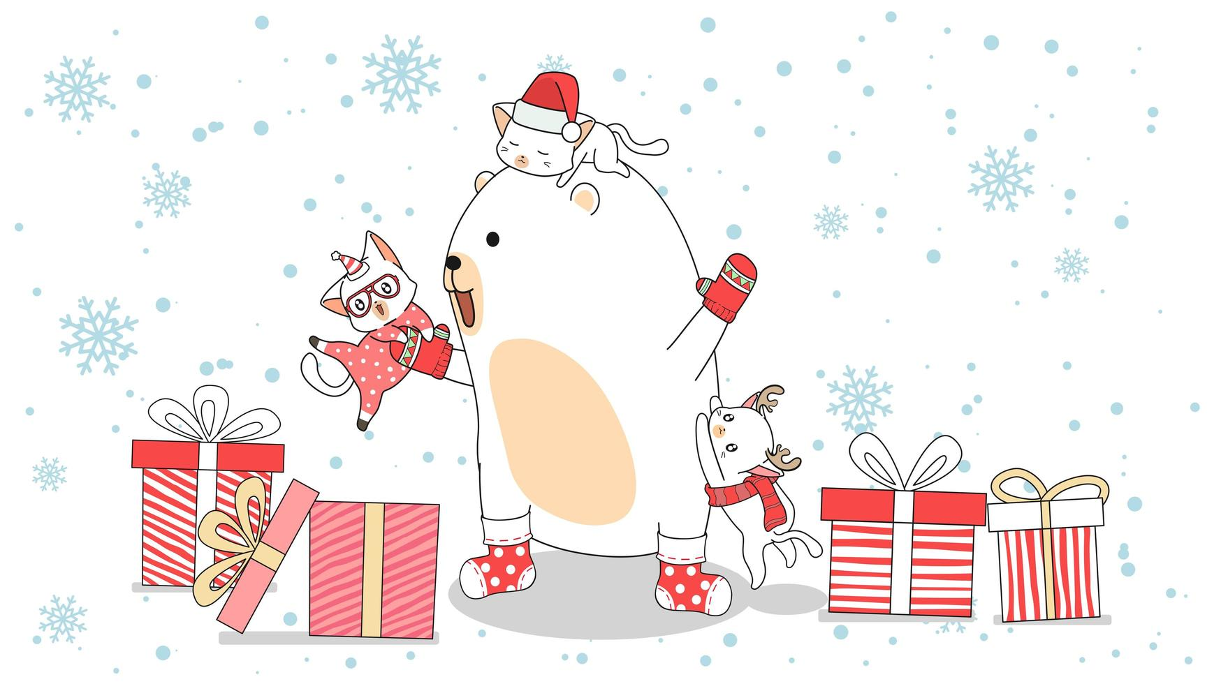 ours polaire avec des chats grimpant sur lui au milieu de cadeaux vecteur