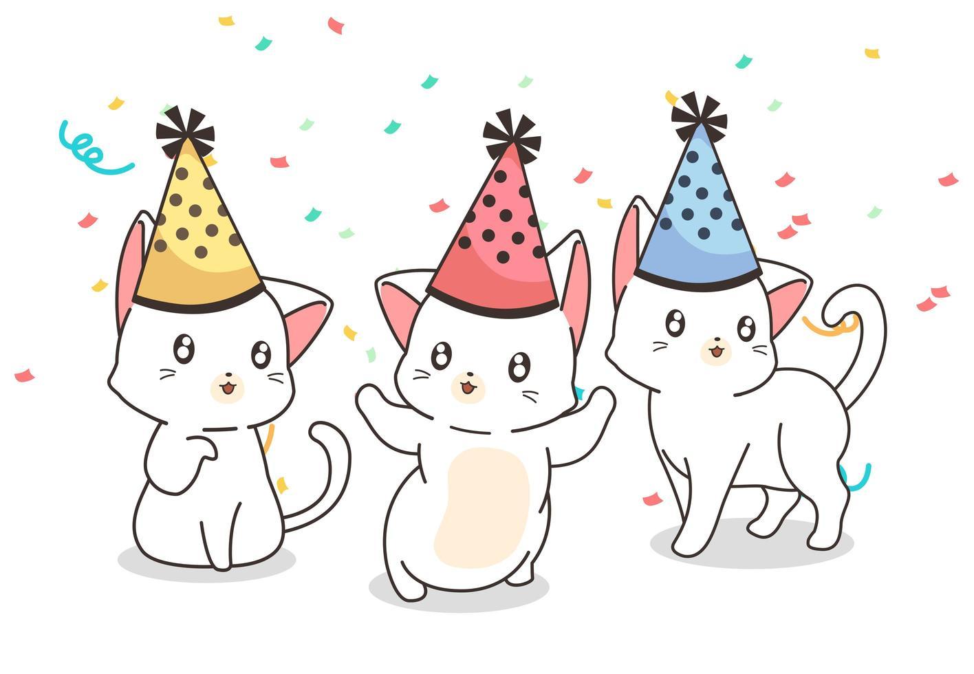 chats portant des chapeaux d'anniversaire en confettis vecteur