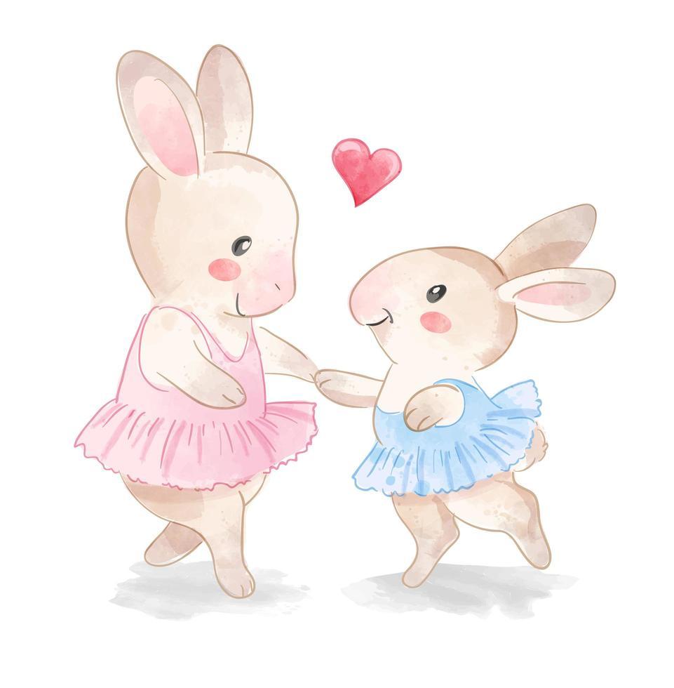 famille de ballerines de lapin mignon vecteur