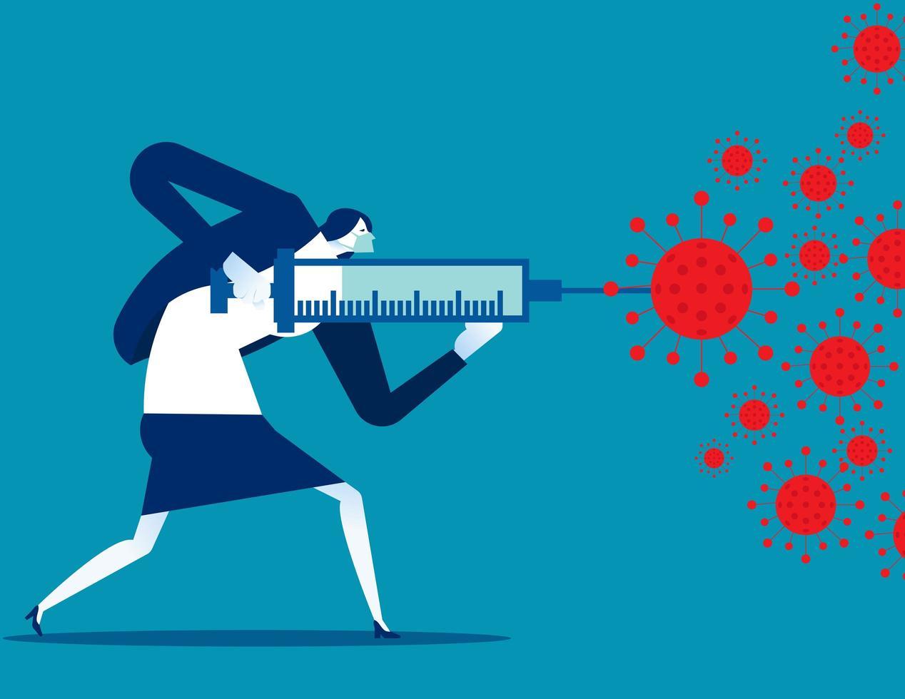 femme avec vaccin fghting covid 19 vecteur