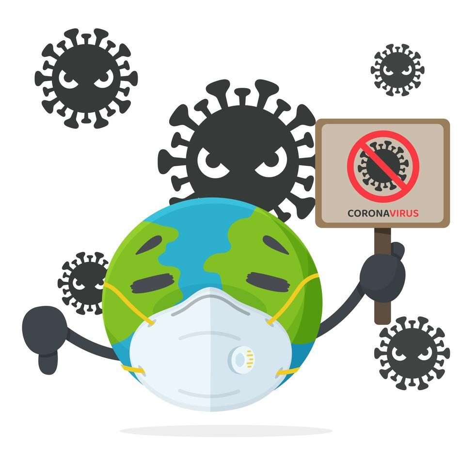conception de la maladie mondiale en style cartoon vecteur