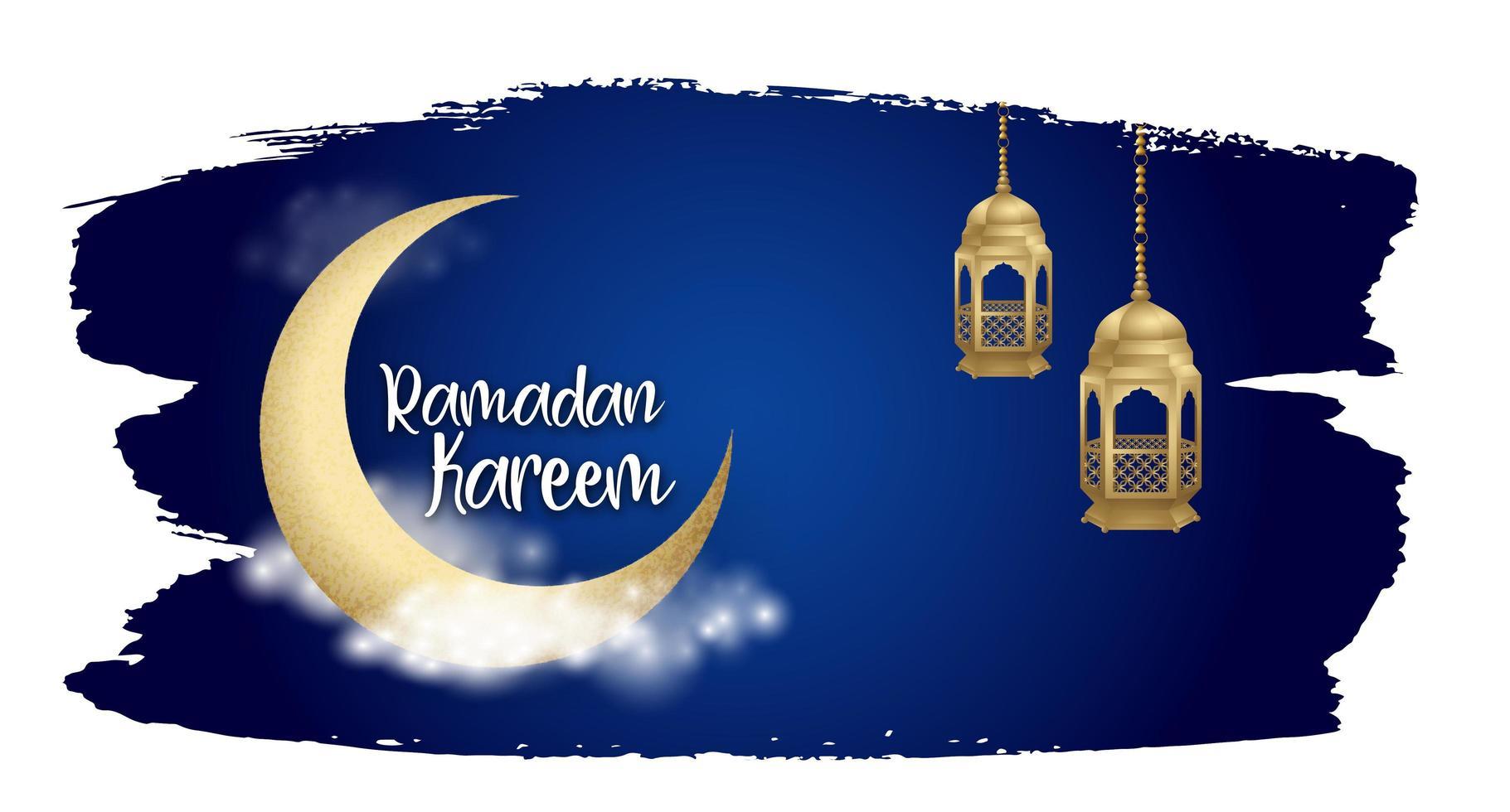 ramadan kareem nuit ciel coup de pinceau fond vecteur