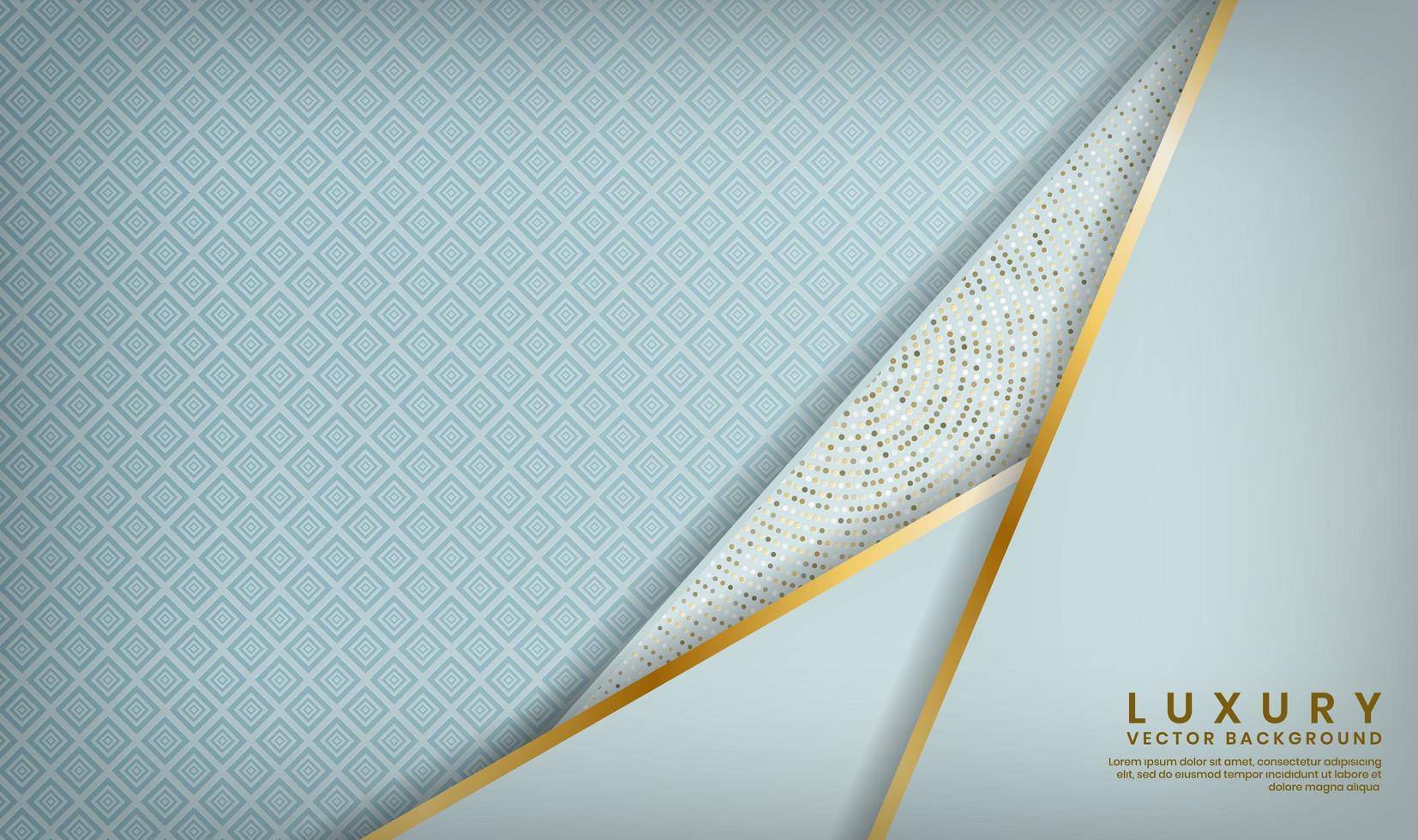 motif bleu avec des couches doublées d'or en angle dans le coin vecteur