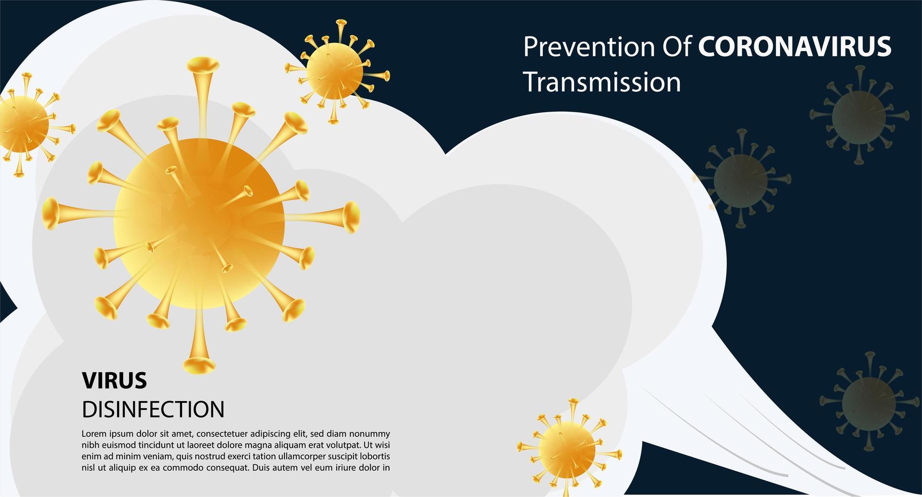 affiche de prévention de la transmission des coronavirus vecteur