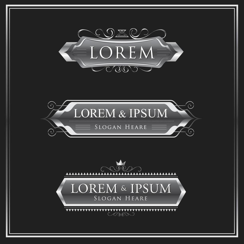 ensemble de logo ou insigne calligraphique argent vecteur