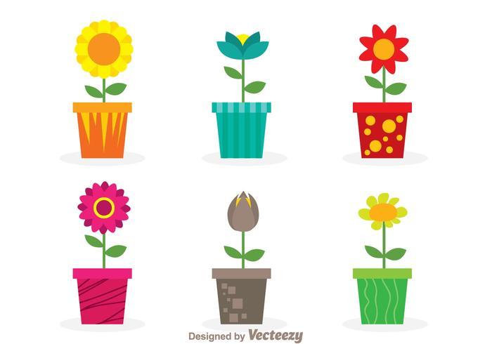 Fleurs vectorielles dans un pot vecteur