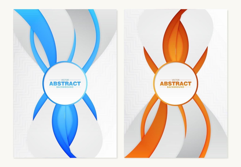 couvertures avec des lignes dynamiques verticales en orange et bleu vecteur