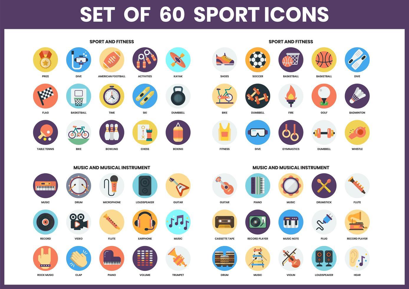 ensemble de 60 icônes de sport, fitness et musique vecteur
