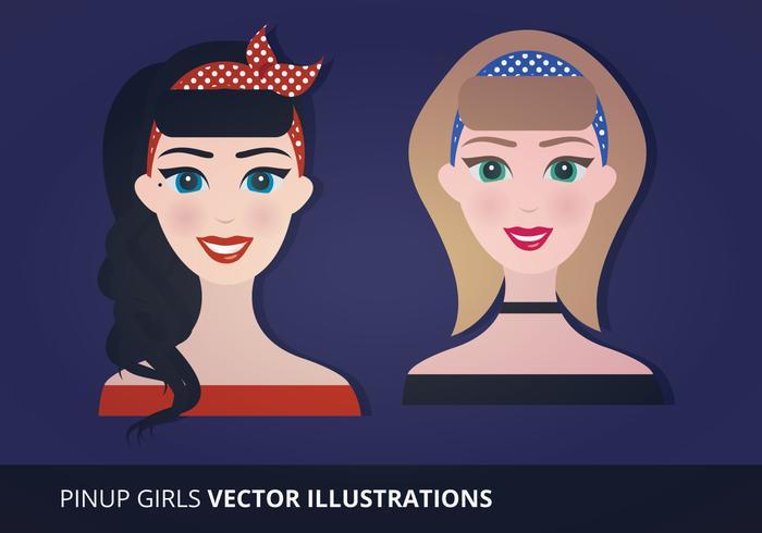 Pinup Girls Illustration Vectorisée vecteur