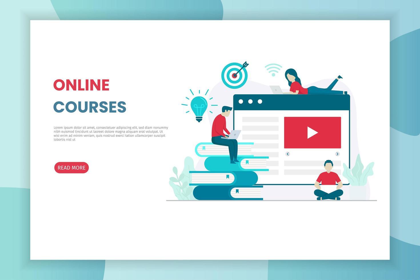page de destination des cours en ligne de conception plate vecteur