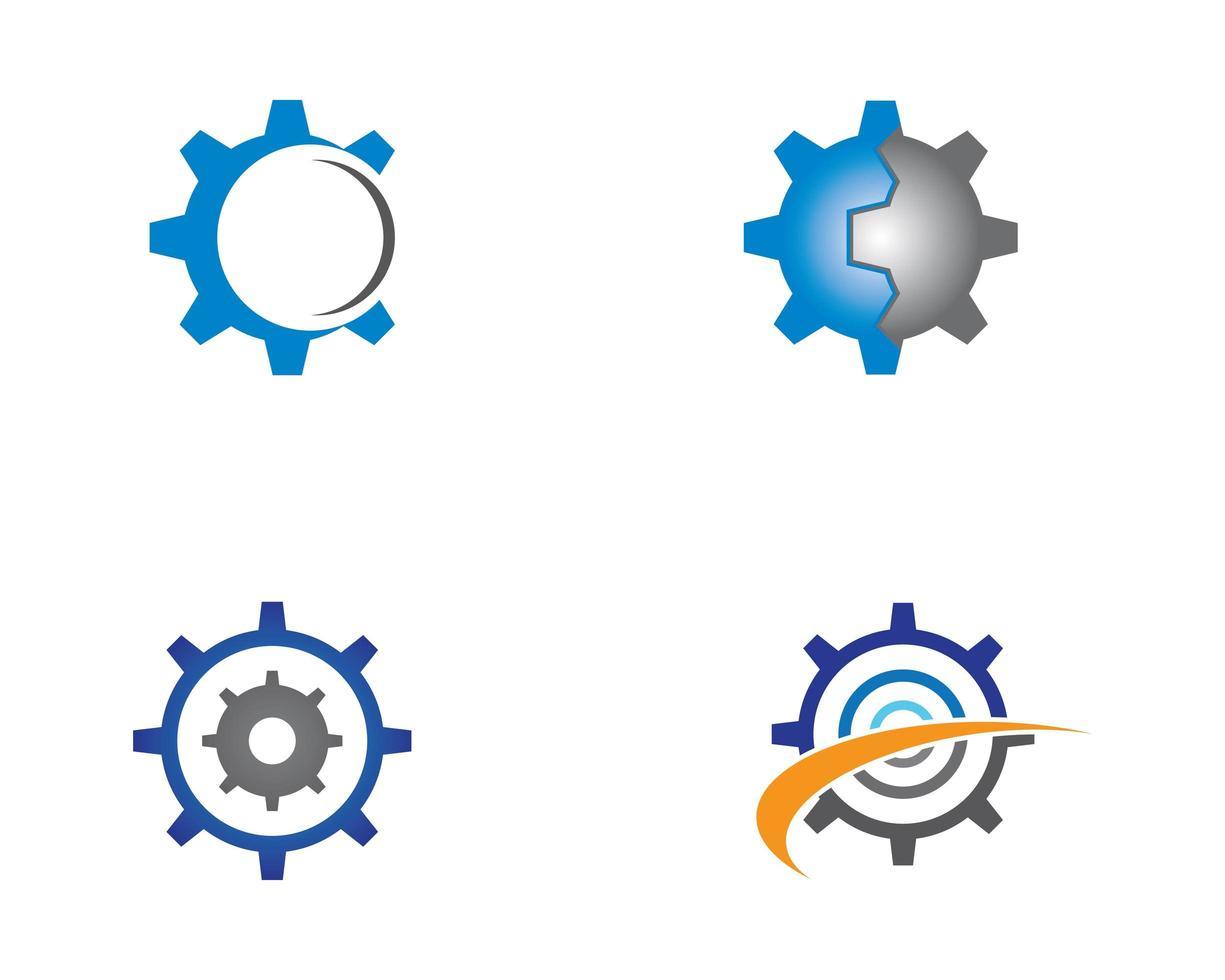 réparation, engrenage, machines, logo, icône, collection vecteur