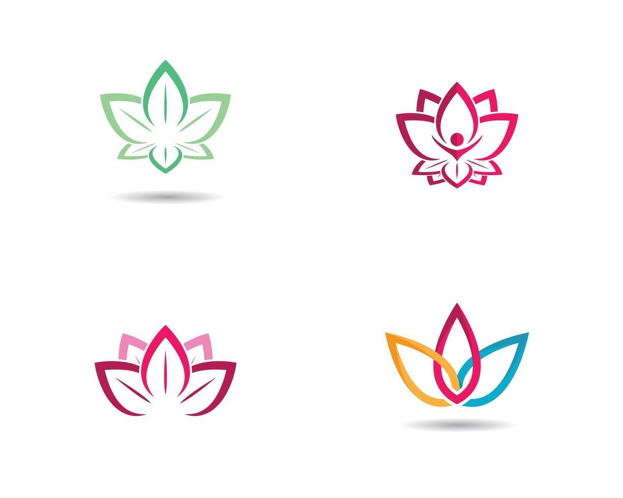 ensemble de logo de belles fleurs vecteur
