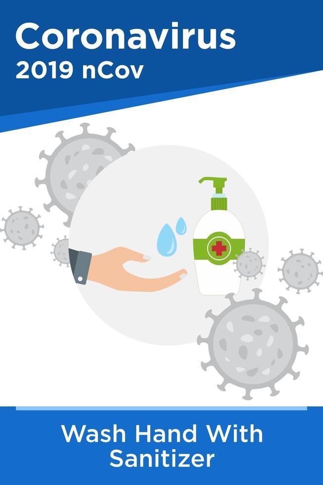 affiche de nettoyage des mains avec un désinfectant pour les mains vecteur