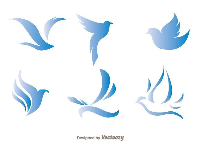 Vecteurs de logo d'oiseaux bleus vecteur