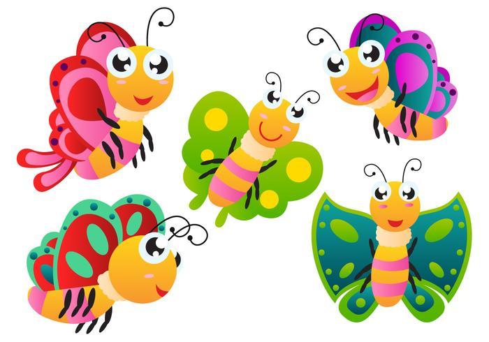 Vecteurs papillon de bande dessinée vecteur