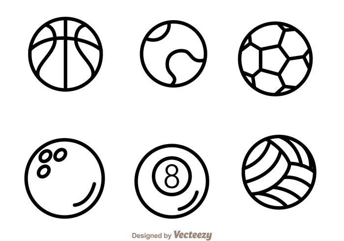 Icônes de contour de balle de sport vecteur