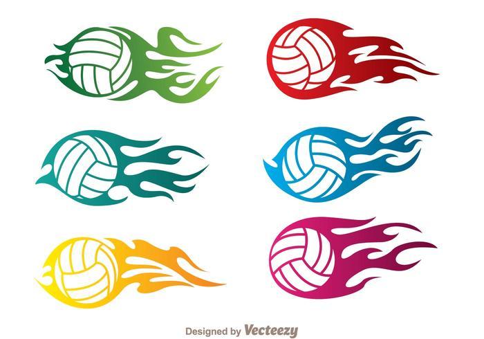 Vecteurs de volleyball en flamme vecteur