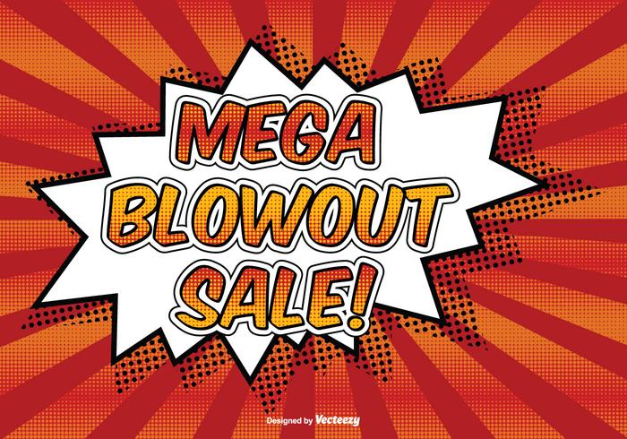 Mega blowout sale illustration de style comique vecteur