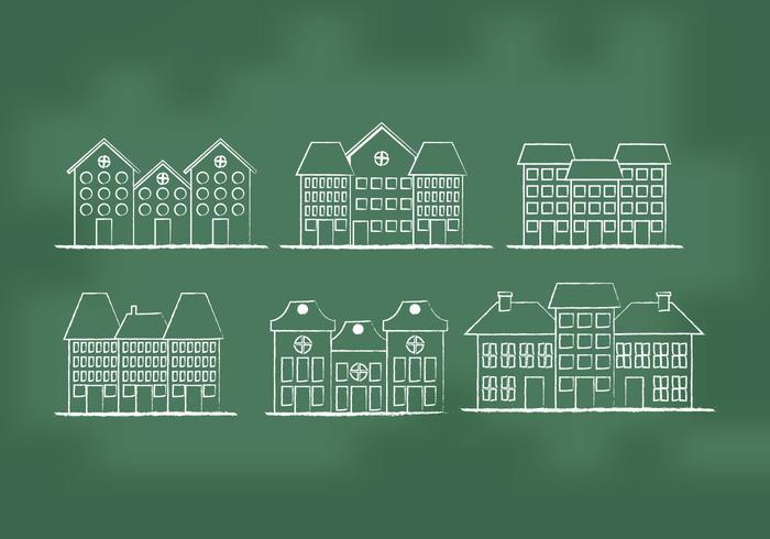 Vecteurs de maisons de ville vecteur