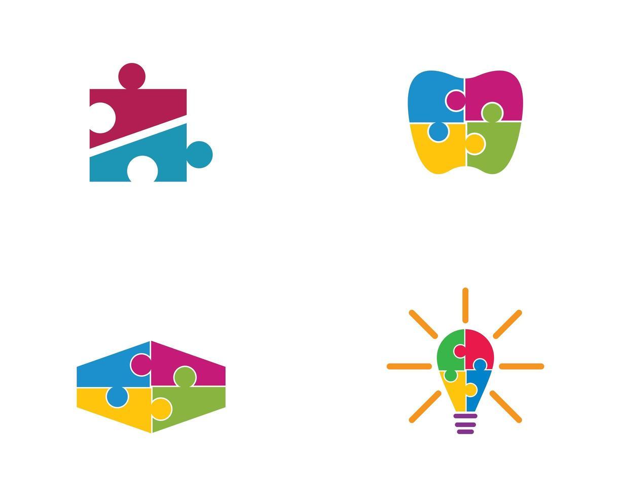 jeu de modèles de logo de puzzle vecteur
