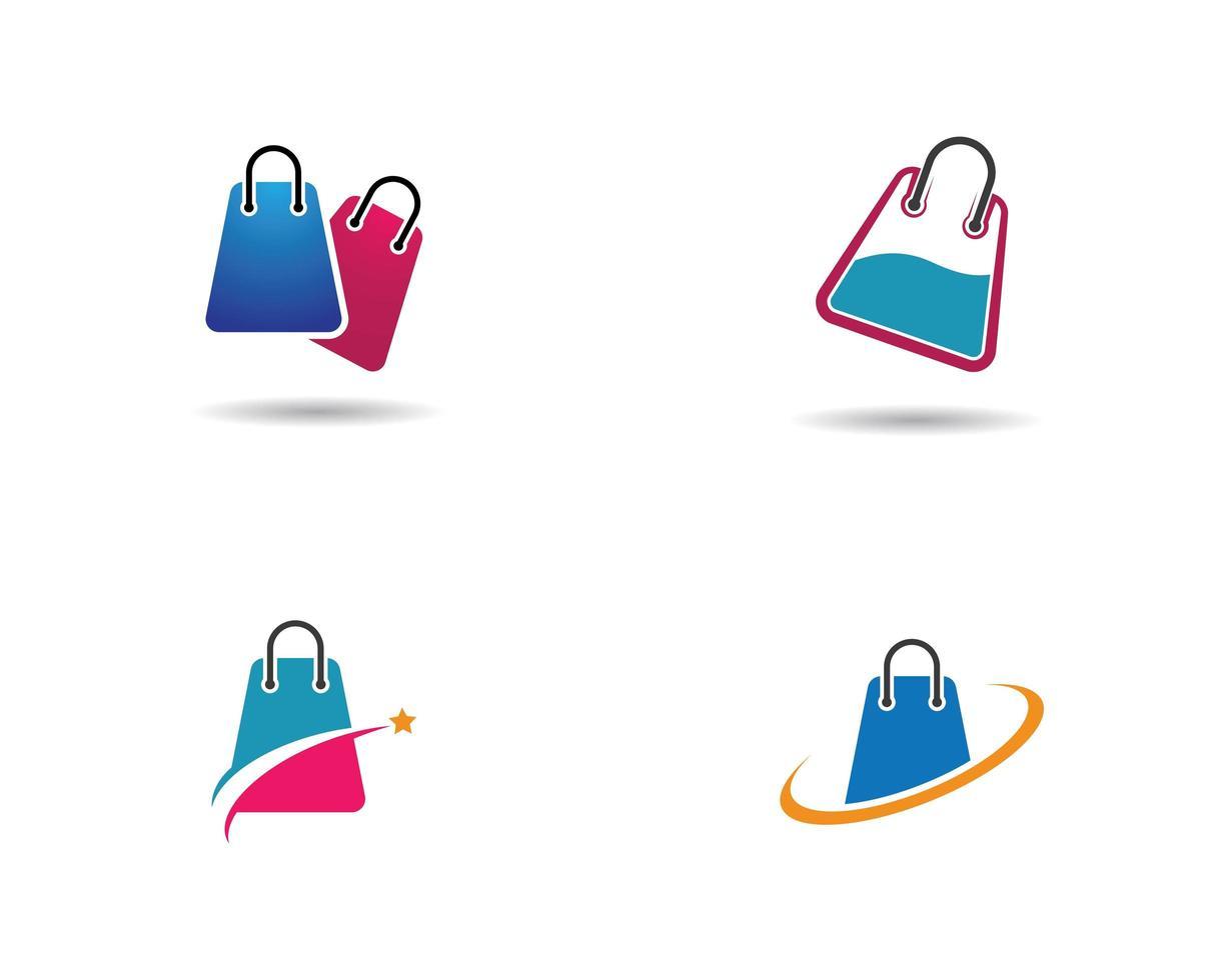 modèle de logo de sac à provisions vecteur