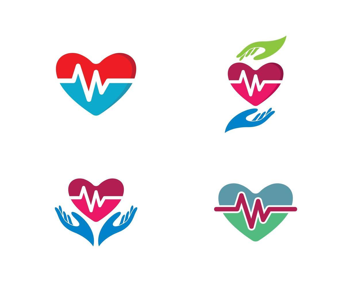 ensemble de logo médical en forme de coeur vecteur