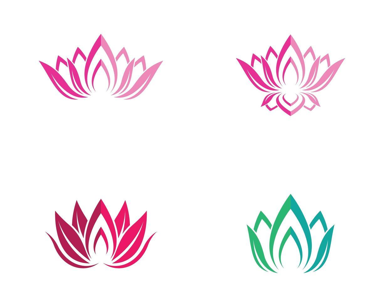 jeu d'icônes de fleur de lotus vecteur