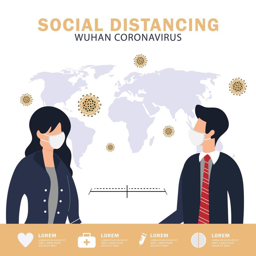 affiche de distanciation sociale vecteur
