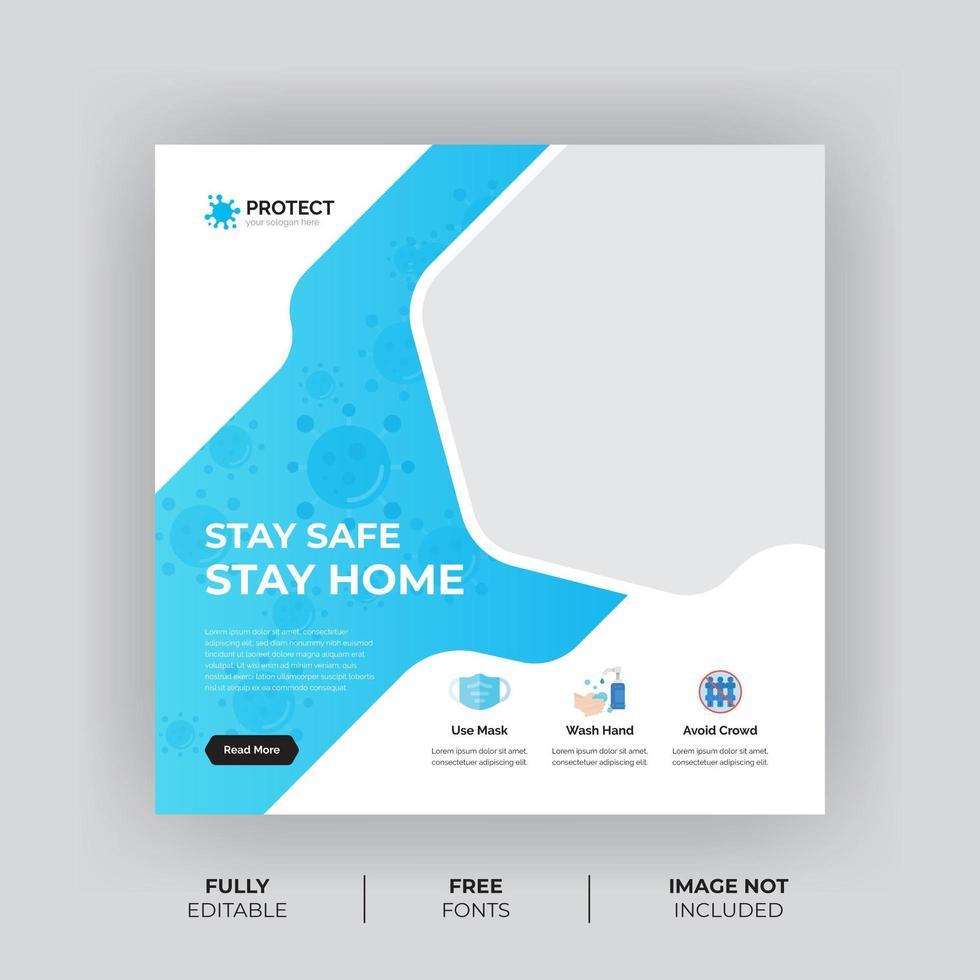 bannière de médias sociaux de forme blanche et bleue pour la prévention des virus vecteur