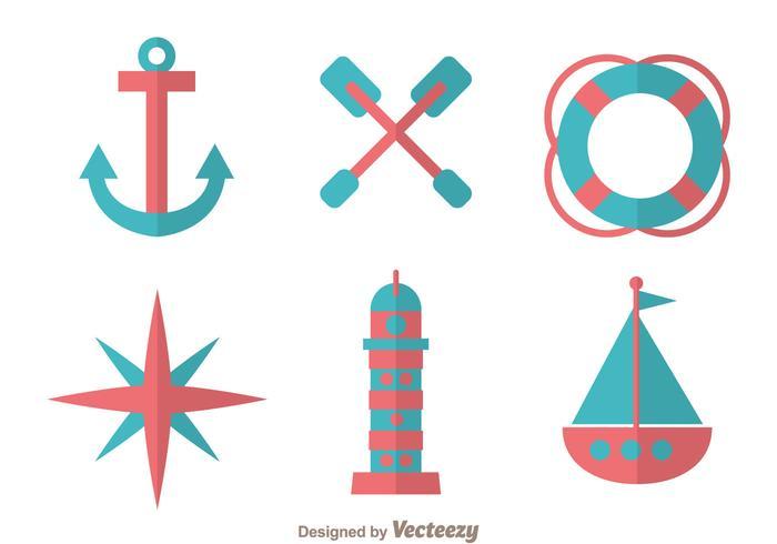 Icônes de conception plate nautique vecteur