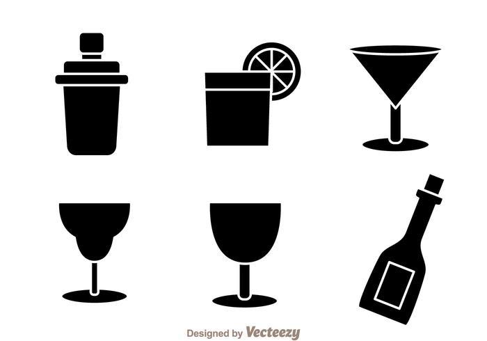 Icônes de cocktail noir vecteur