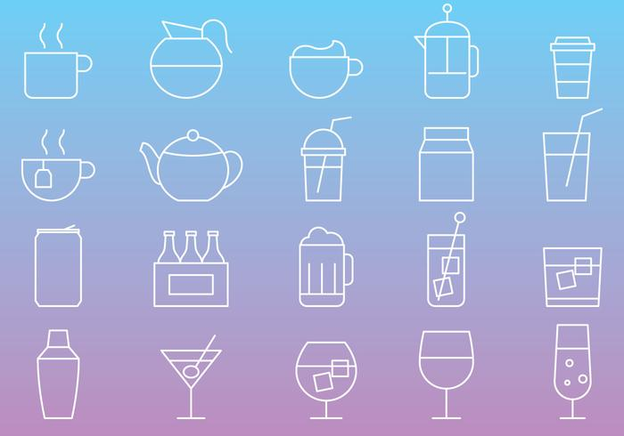 Icônes de ligne de boissons vecteur