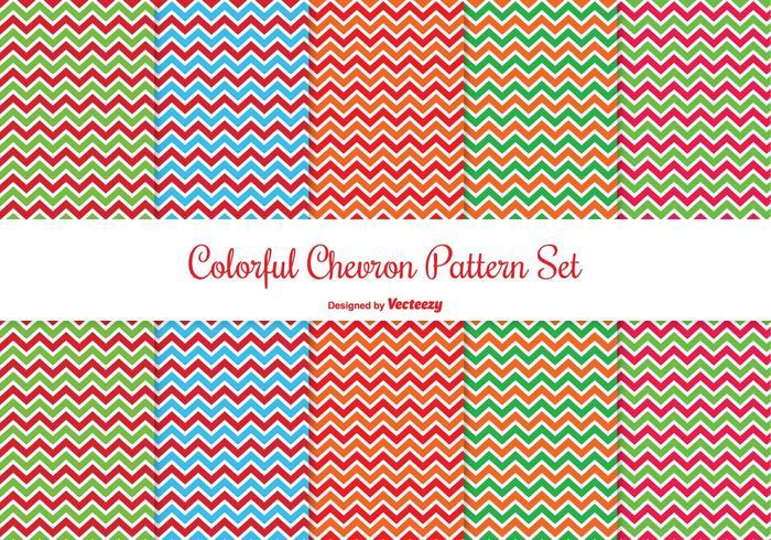 Ensemble de motifs colorés Chevron vecteur
