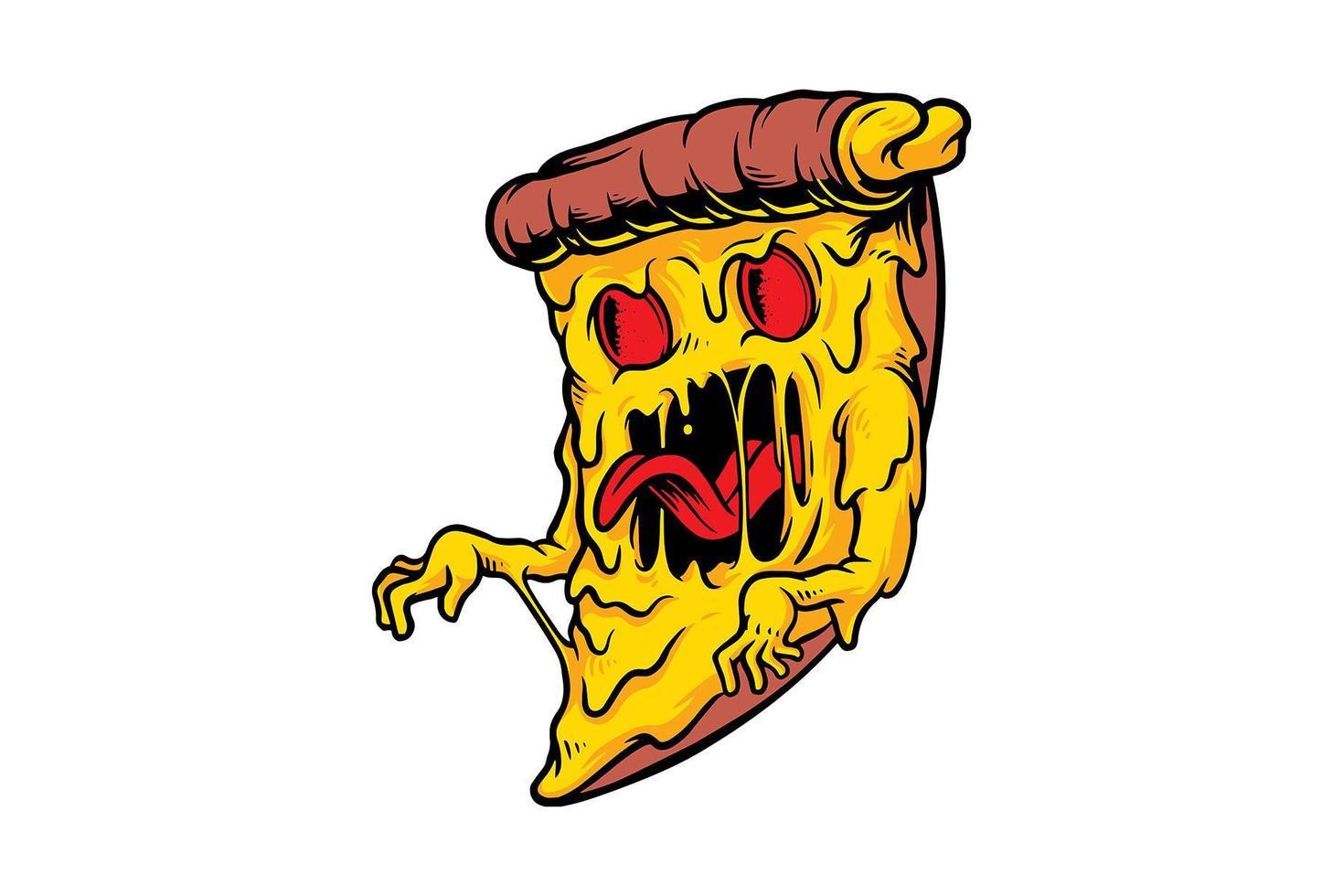 dessin de monstre de pizza vecteur