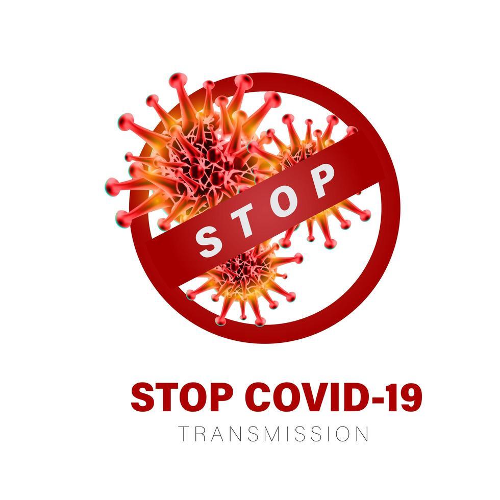 affiche de la transmission stop covid-19 vecteur
