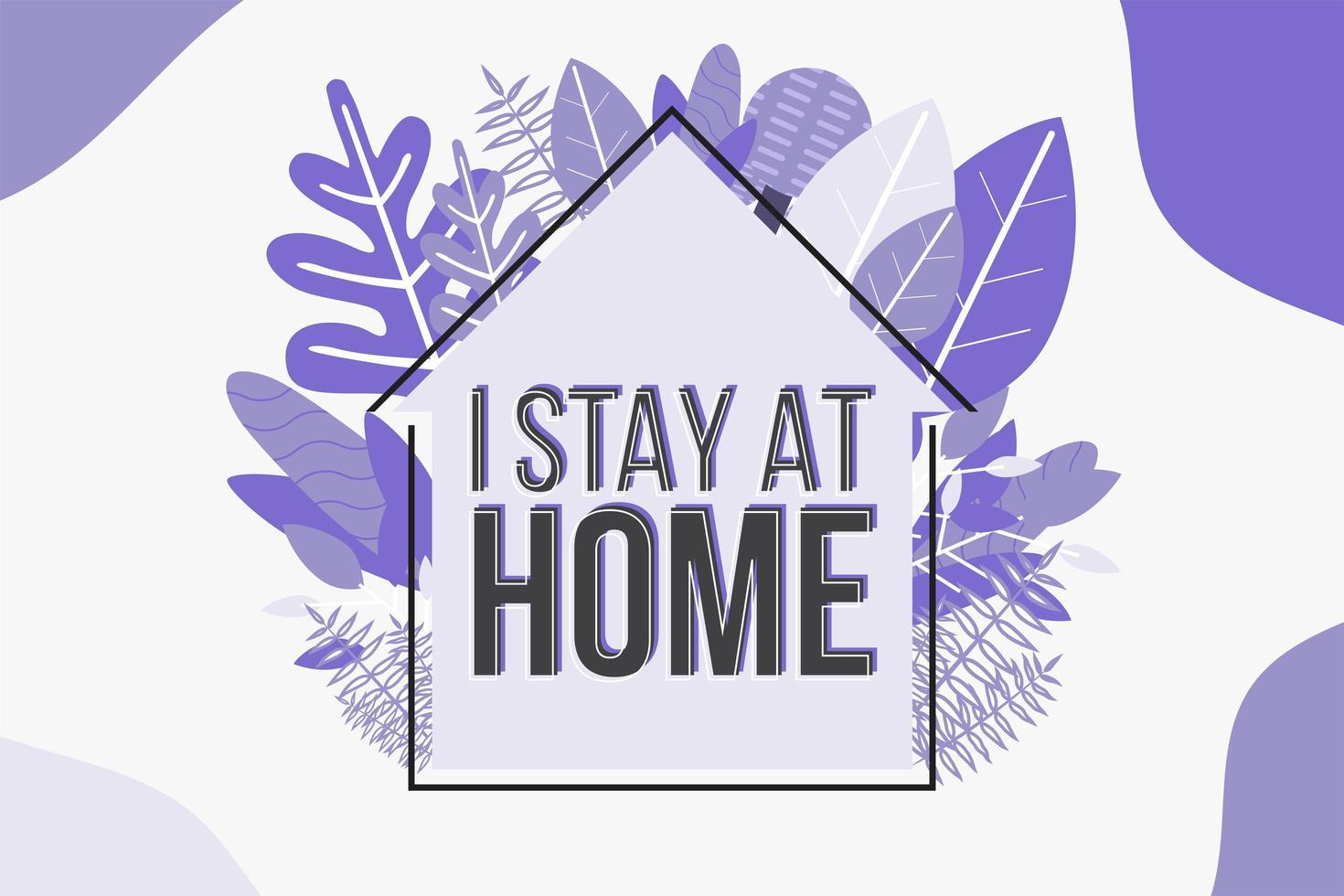 affiche tendance violet à la maison avec feuillage vecteur