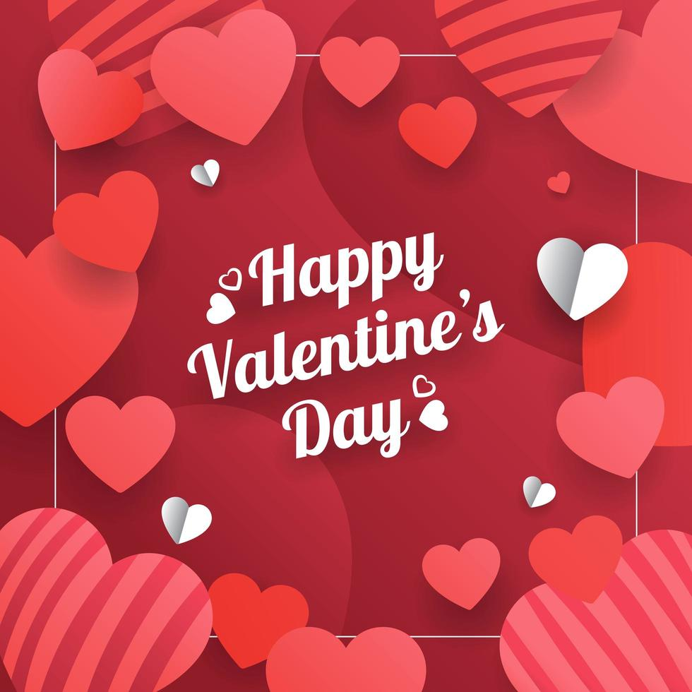 carte de Saint Valentin rouge avec coeurs découpés en papier vecteur