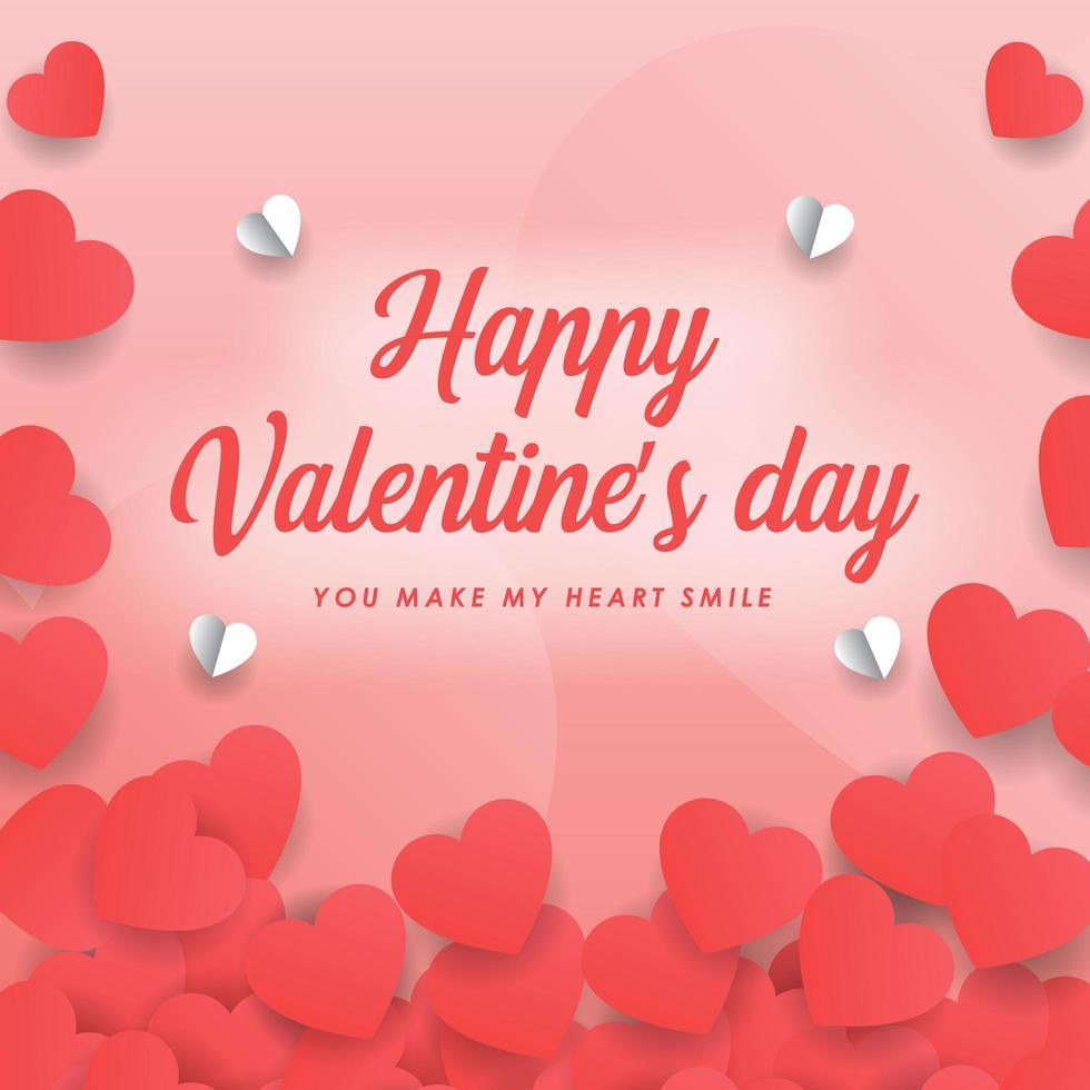 carte de Saint Valentin coeur papier découpé vecteur
