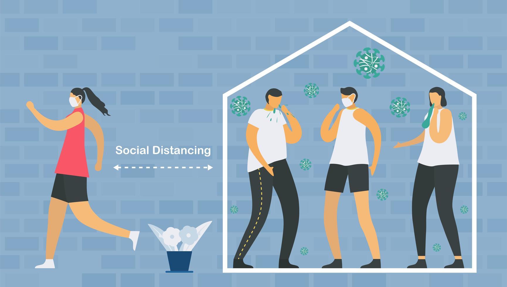 distanciation sociale exerçant la conception vecteur