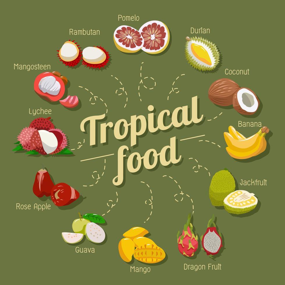ensemble de fruits tropicaux vecteur