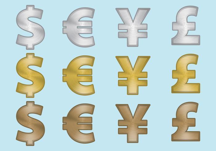 Symboles de monnaie en aluminium vecteur