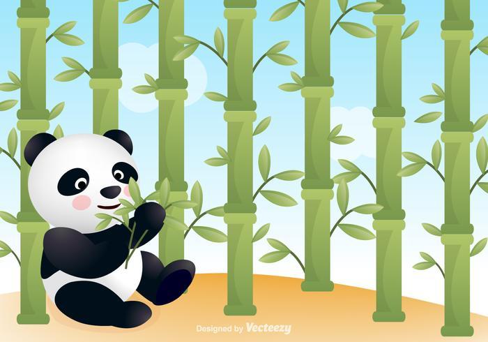 Panda gratuit avec fond de vecteur en bambou
