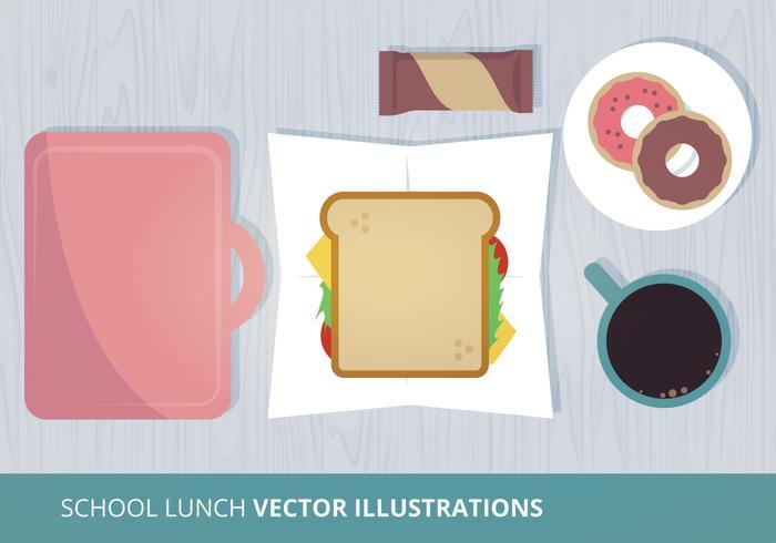 Illustration vectorielle au déjeuner scolaire vecteur