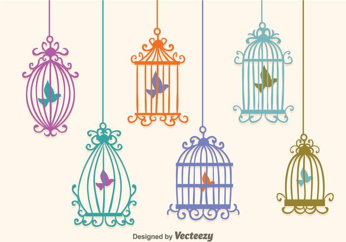 Vecteurs de cage d'oiseaux vintage colorés vecteur